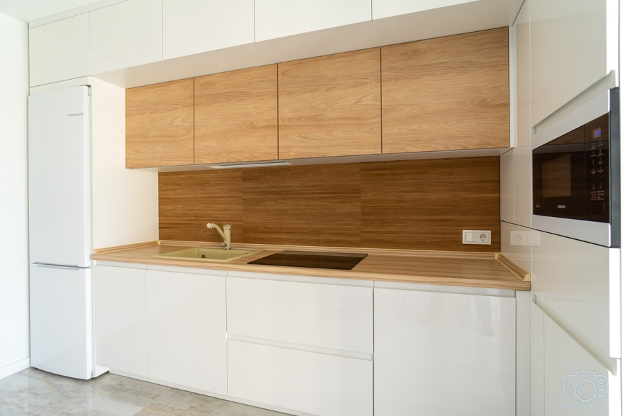 Белый кухонный гарнитур-Кухня МДФ в эмали «Модель 5»-фото5
