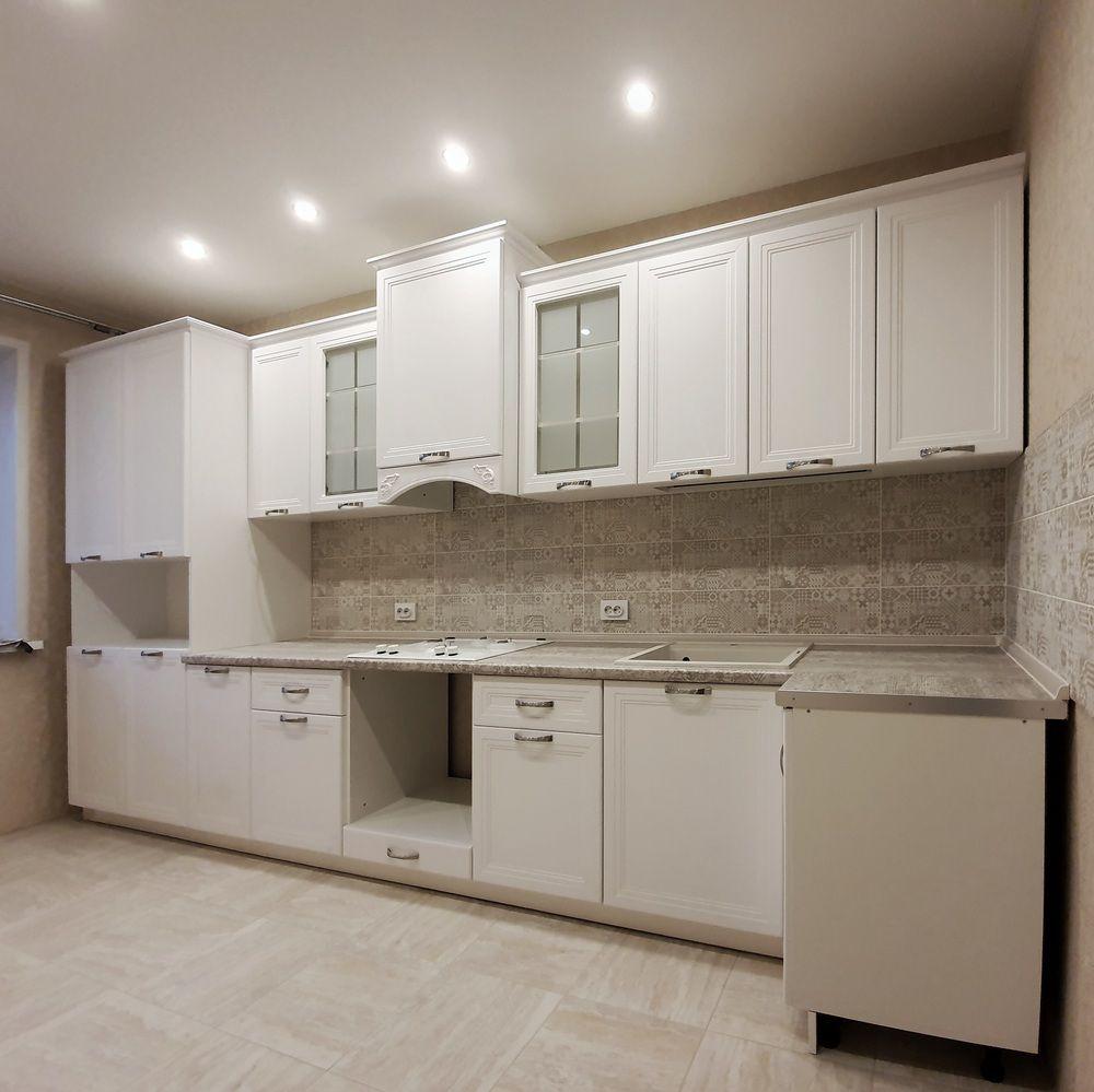 Белый кухонный гарнитур-Кухня МДФ в эмали «Модель 538»-фото1