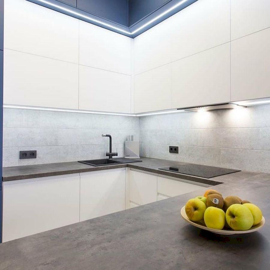 Белый кухонный гарнитур-Кухня МДФ в эмали «Модель 678»-фото4