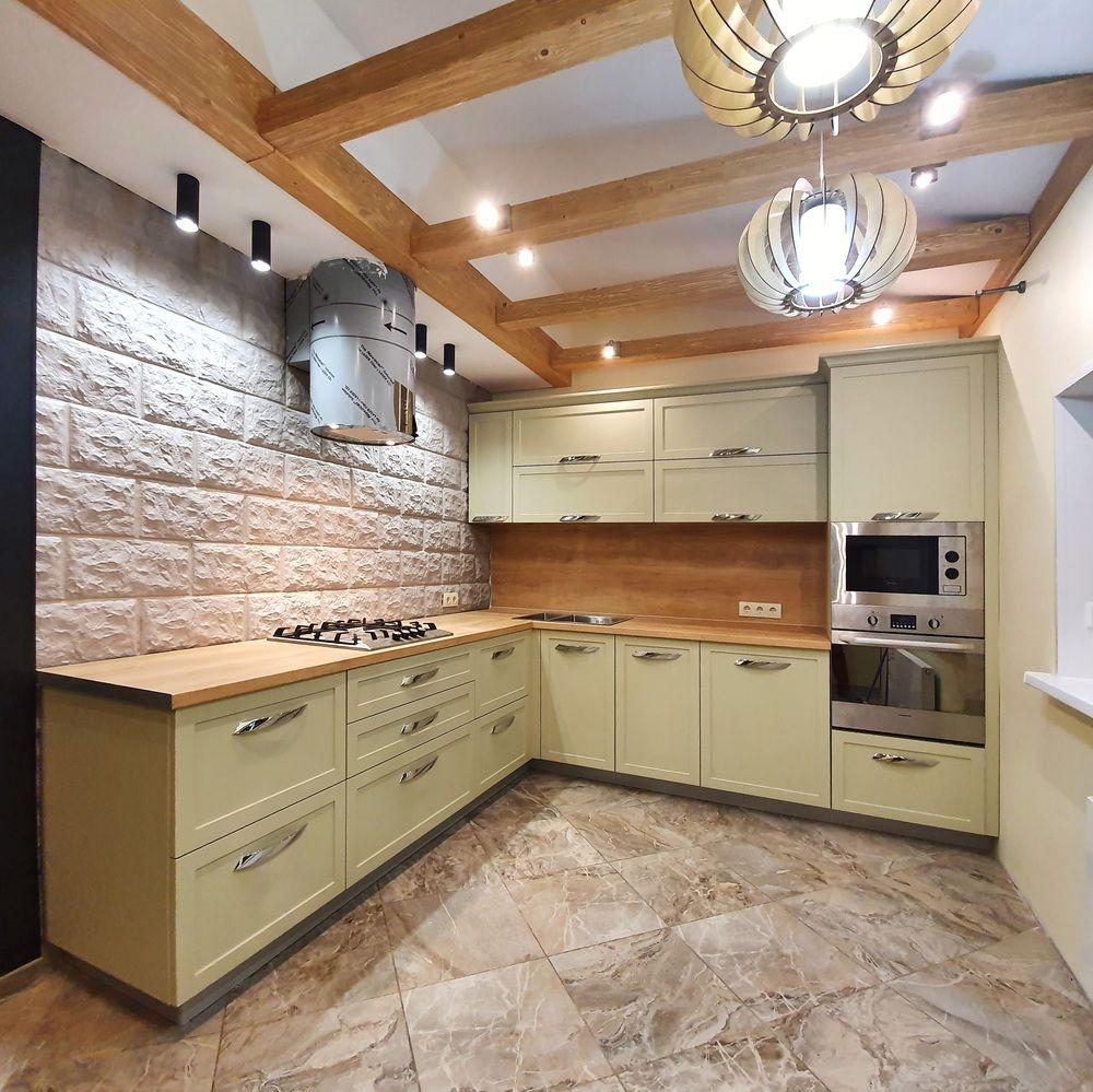 Бежевые кухни-Кухня МДФ в эмали «Модель 519»-фото1
